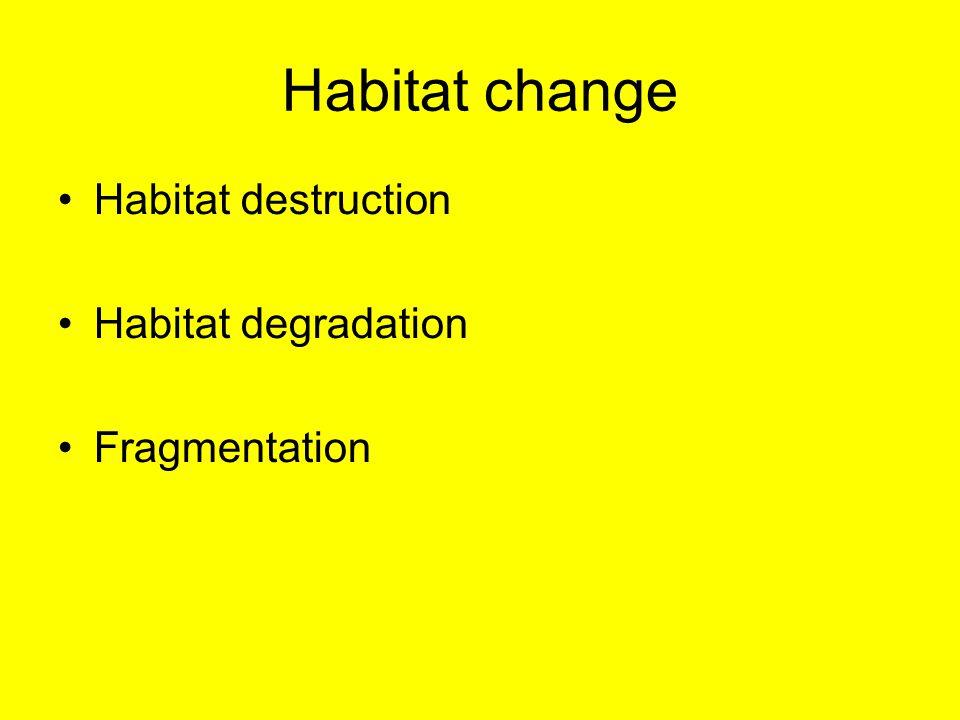 Habitat change Habitat destruction Habitat degradation Fragmentation