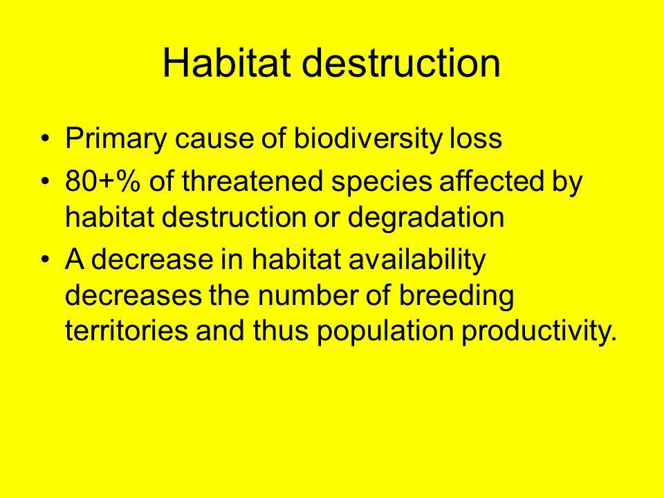 Habitat destruction Primary cause of biodiversity loss 80+% of threatened species affected by habitat destruction or degradation A decrease in habitat