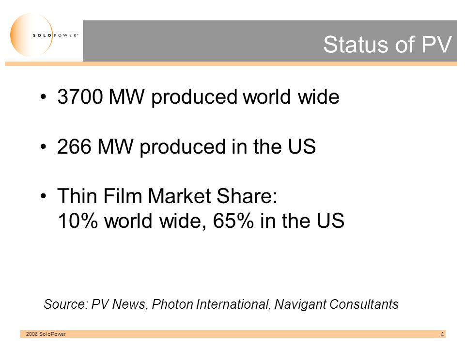 2008 SoloPower 5 Status of Thin Film PV Currently, FIRST SOLAR [ CdTe ] is the largest Thin Film manufacturing company in the US -277 MW in 2007 -910 MW expected in 2009 Demonstrated the viability of Thin Film PV -High Throughput -Large Scale -Low Cost per Watt Source: First Solar.com