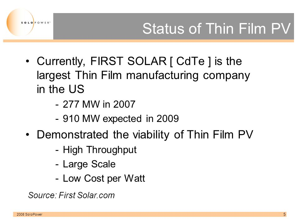 2008 SoloPower 6 PVNews Reported US Production thru 2007 Source: PVNews
