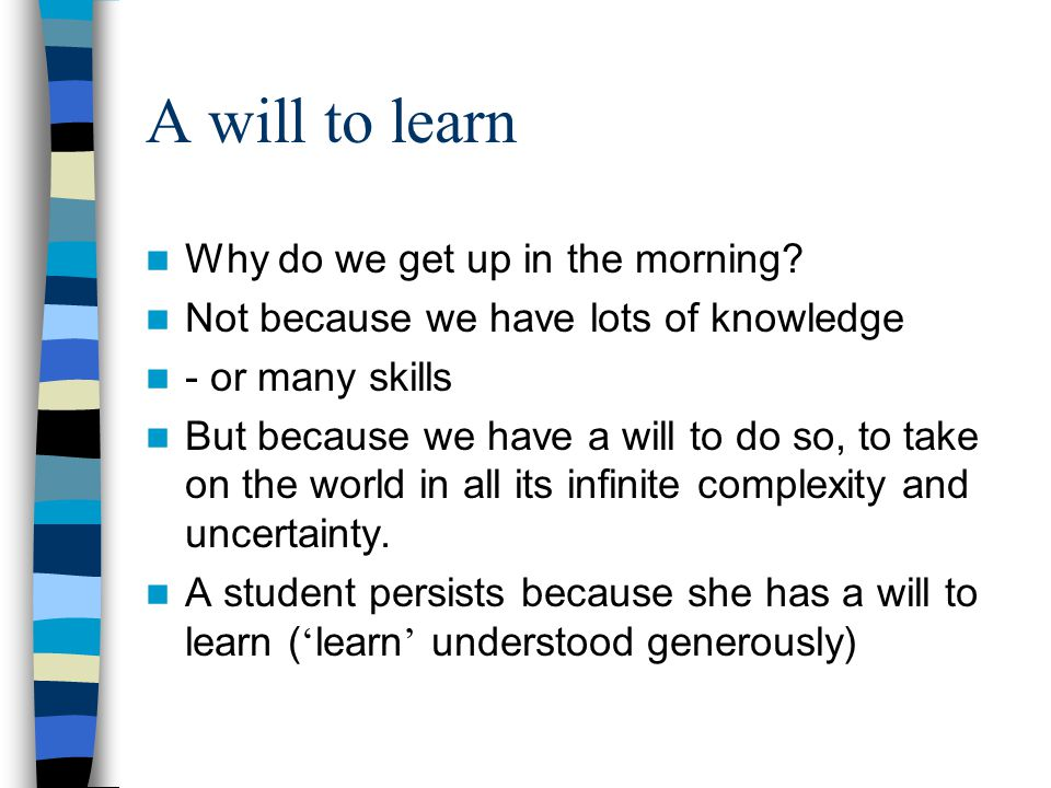 Two problems ('research questions') 1 Which is more important – the intellect or the way in which a student is.