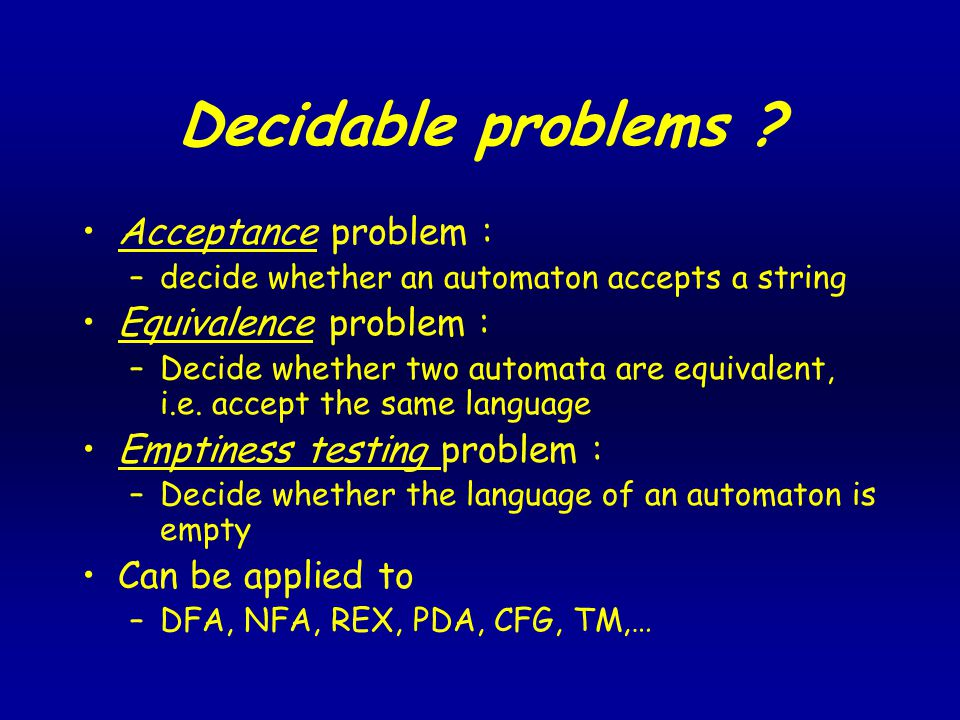 Decidable problems .