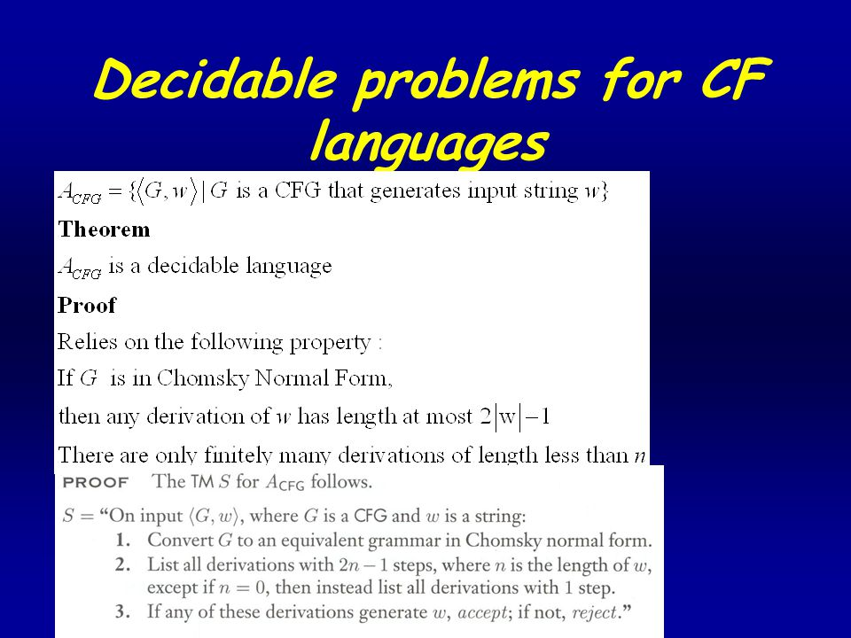 Decidable problems for CF languages