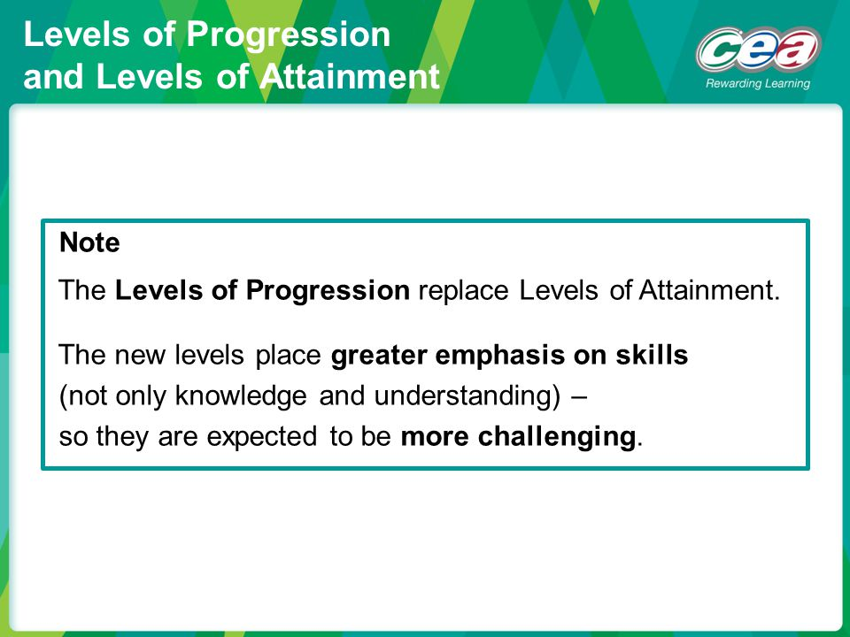 Levels of Progression and Levels of Attainment Note The Levels of Progression replace Levels of Attainment. The new levels place greater emphasis on s