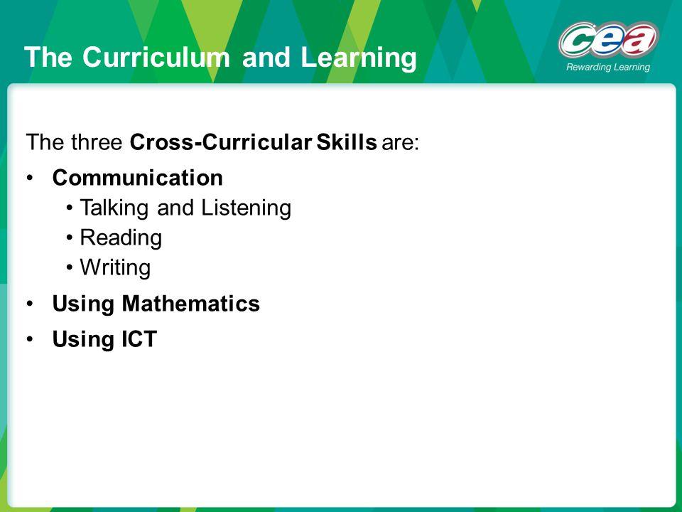 The three Cross-Curricular Skills are: Communication Talking and Listening Reading Writing Using Mathematics Using ICT The Curriculum and Learning