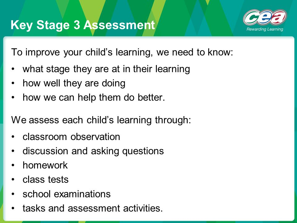 To improve your child's learning, we need to know: what stage they are at in their learning how well they are doing how we can help them do better. We