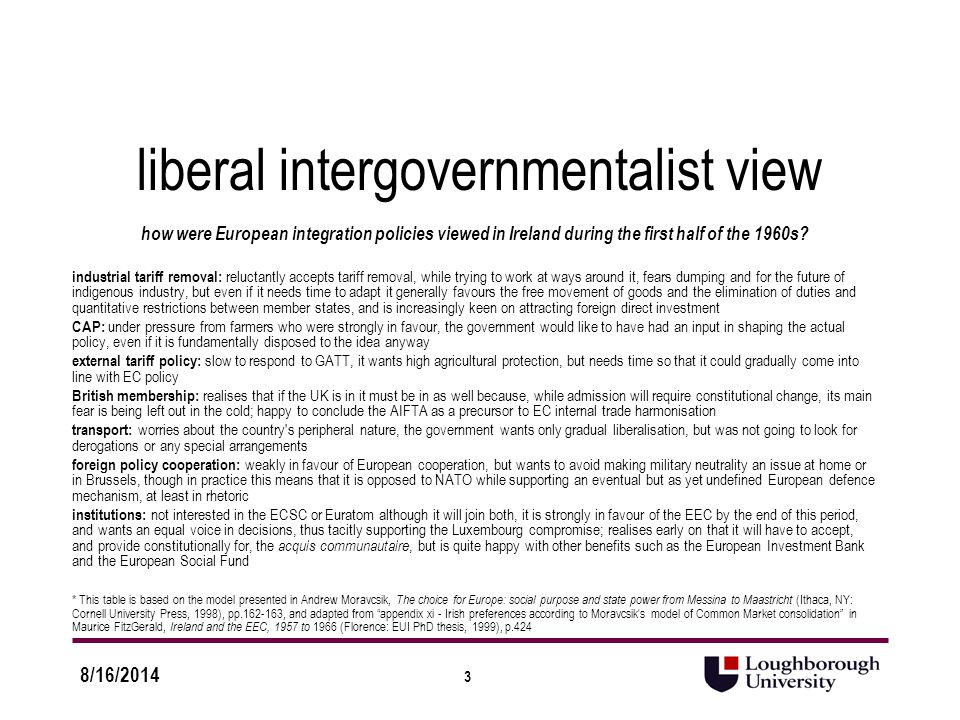 3 8/16/2014 liberal intergovernmentalist view how were European integration policies viewed in Ireland during the first half of the 1960s.