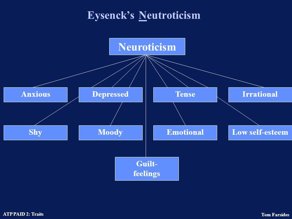 Tom Farsides ATP PAID 2: Traits Eysenck's Extraversion Extraversion SociableLivelyActiveAssertive CarefreeDominantSurgentVenturesome Sensation- seeking