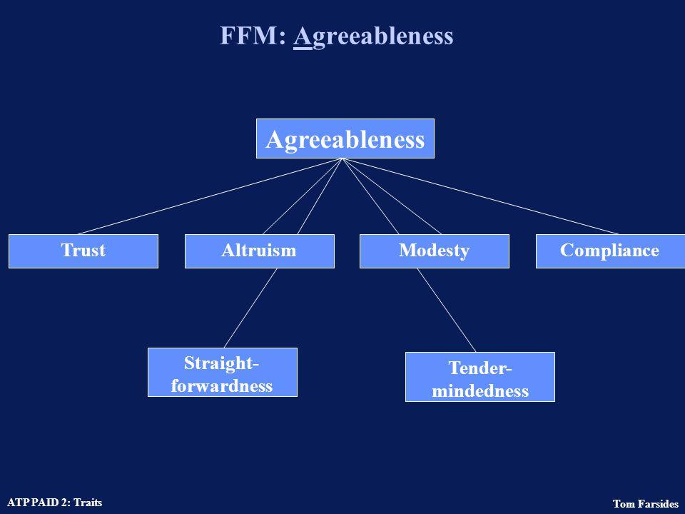 Tom Farsides ATP PAID 2: Traits FFM: Extraversion Extraversion GregariousnessActivity levelAssertivenessWarmth Excitement Seeking Positive Emotions