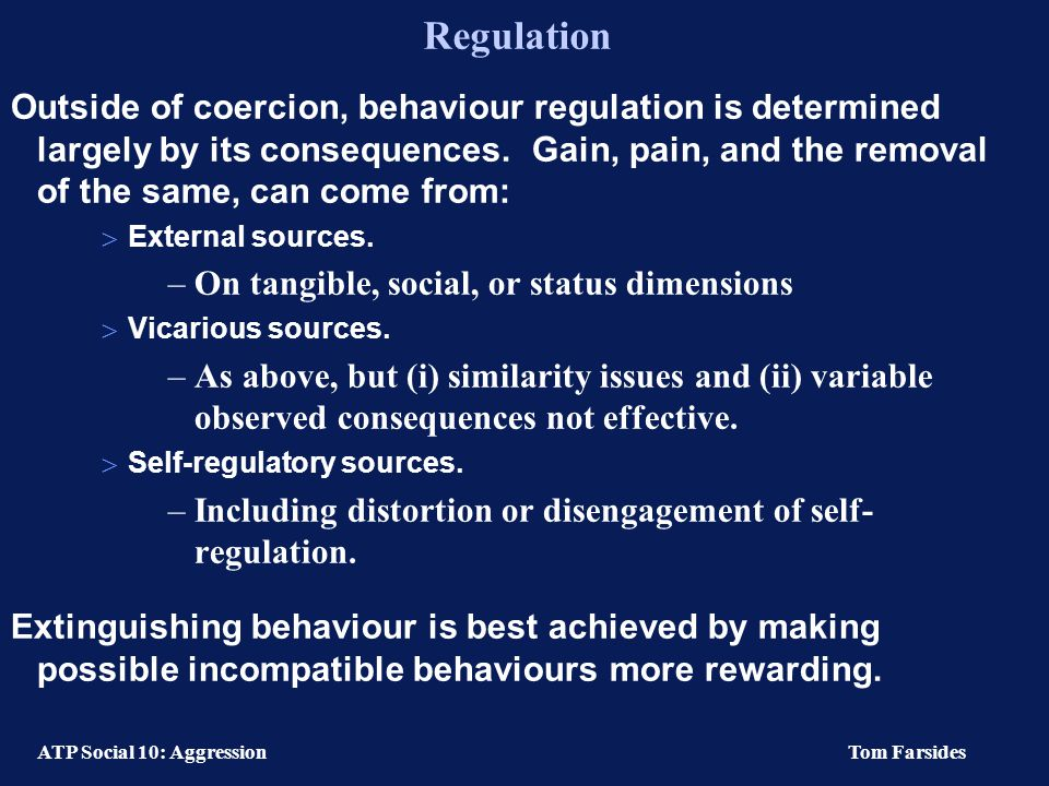 ATP Social 10: Aggression Tom Farsides Incentive Instigators: Models & authority Incentive instigators  The pull of expected benefits, rather than the push of painful treatment (Bandura, 1983, p.