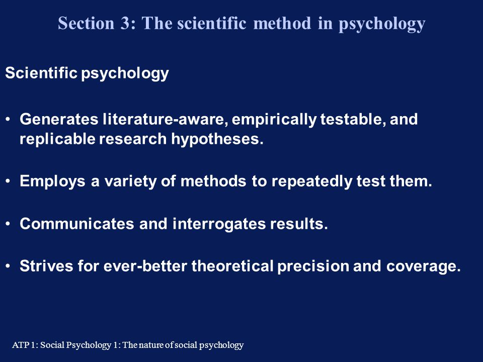 "ATP 1: Social Psychology 1: The nature of social psychology ""...in their social context…"" Distinguishes social psychology as a sub-discipline. ""Social"
