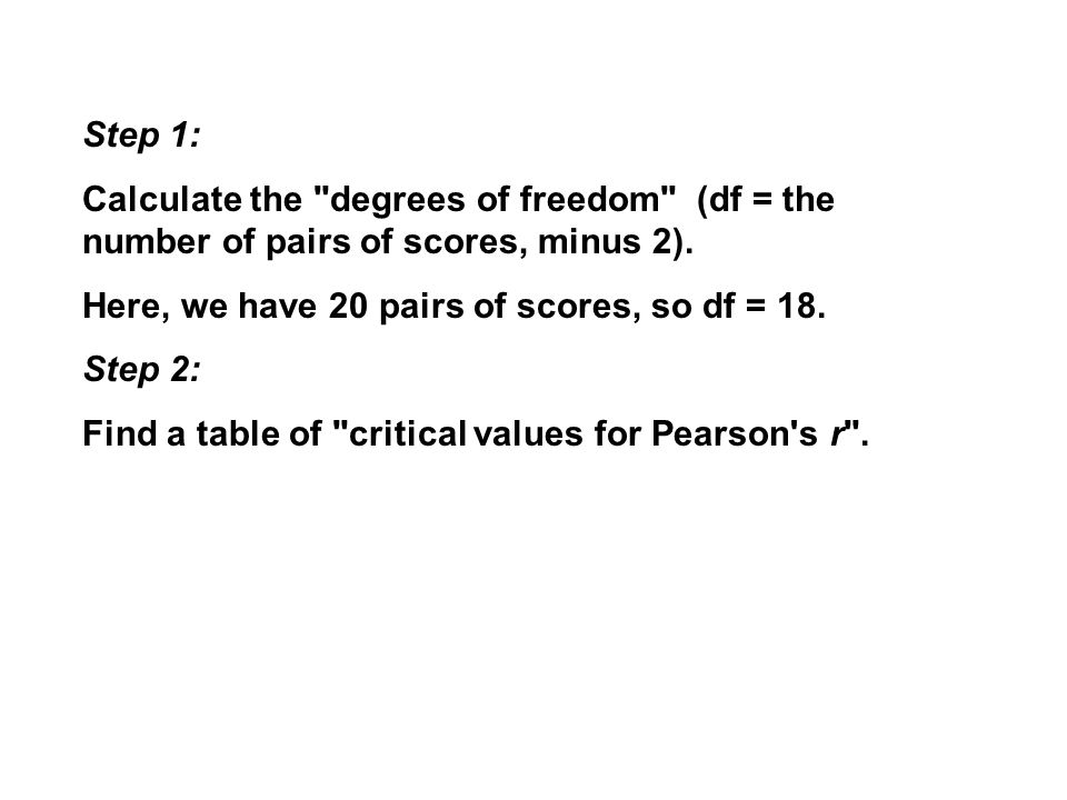 Step 1: Calculate the degrees of freedom (df = the number of pairs of scores, minus 2).