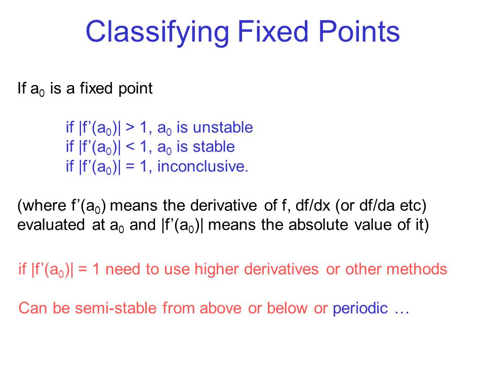 Classifying Fixed Points If a 0 is a fixed point if |f'(a 0 )| > 1, a 0 is unstable if |f'(a 0 )| < 1, a 0 is stable if |f'(a 0 )| = 1, inconclusive.