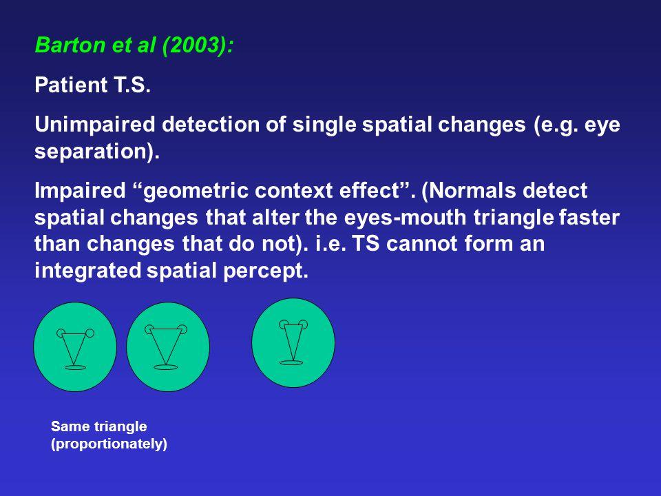 "Barton et al (2003): Patient T.S. Unimpaired detection of single spatial changes (e.g. eye separation). Impaired ""geometric context effect"". (Normals"
