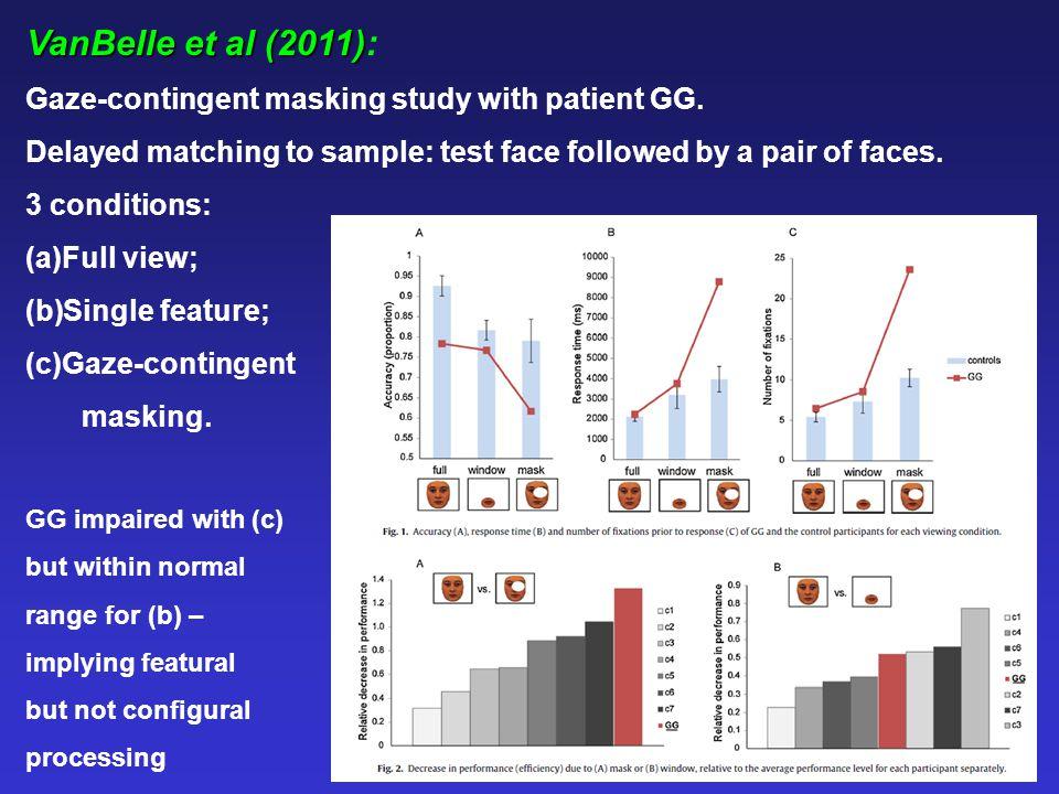 VanBelle et al (2011) VanBelle et al (2011): Gaze-contingent masking study with patient GG. Delayed matching to sample: test face followed by a pair o