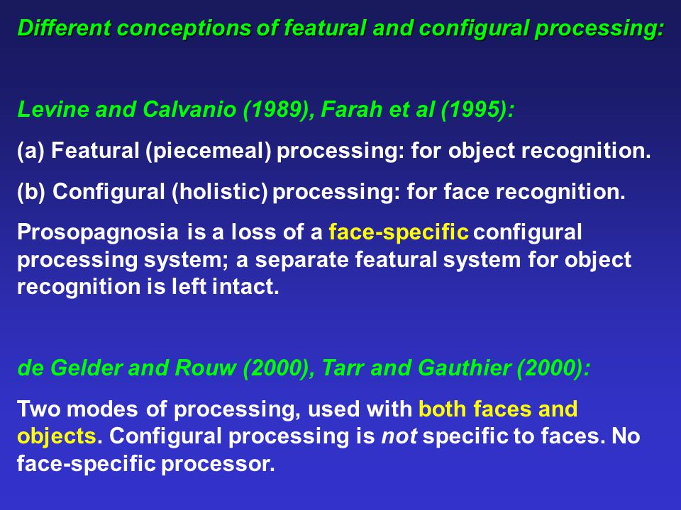 Different conceptions of featural and configural processing: Levine and Calvanio (1989), Farah et al (1995): (a) Featural (piecemeal) processing: for