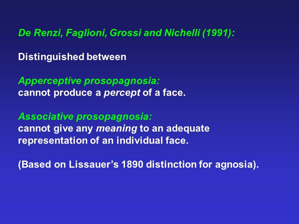 De Renzi, Faglioni, Grossi and Nichelli (1991): Distinguished between Apperceptive prosopagnosia: cannot produce a percept of a face.