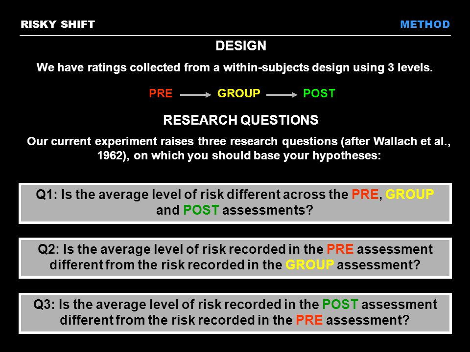 RESEARCH QUESTIONS Our current experiment raises three research questions (after Wallach et al., 1962), on which you should base your hypotheses: METHOD Q3: Is the average level of risk recorded in the POST assessment different from the risk recorded in the PRE assessment.