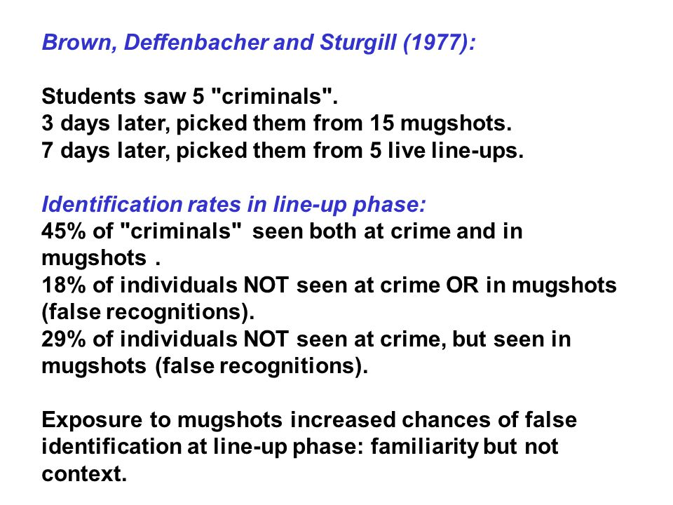Brown, Deffenbacher and Sturgill (1977): Students saw 5 criminals .