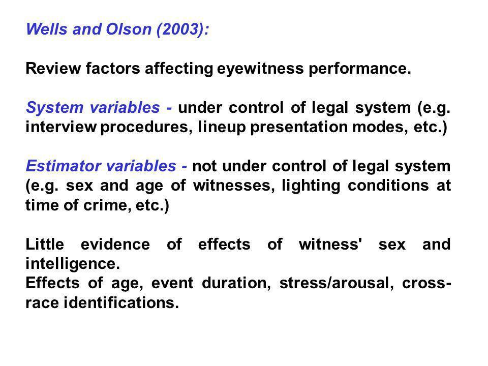 Exposure time and delay: MacLin, MacLin and Malpass (2001): Review.