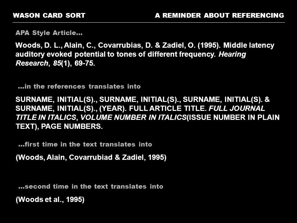 A REMINDER ABOUT REFERENCINGWASON CARD SORT Stein, B.