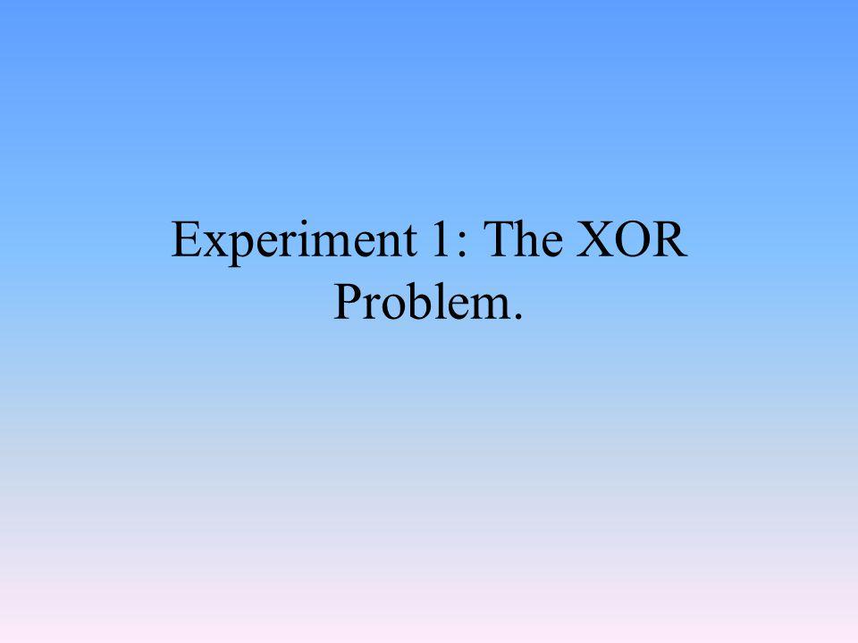 Experiment 1: The XOR Problem.