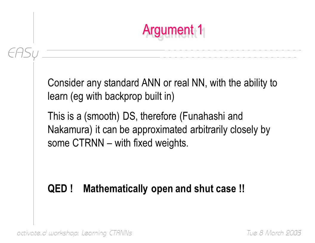 EASy Tue 8 March 2005activate.d workshop: Learning CTRNNs11 Argument 1 Consider any standard ANN or real NN, with the ability to learn (eg with backprop built in) This is a (smooth) DS, therefore (Funahashi and Nakamura) it can be approximated arbitrarily closely by some CTRNN – with fixed weights.