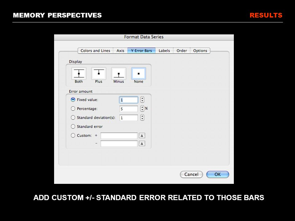 RESULTS ADD CUSTOM +/- STANDARD ERROR RELATED TO THOSE BARS MEMORY PERSPECTIVES