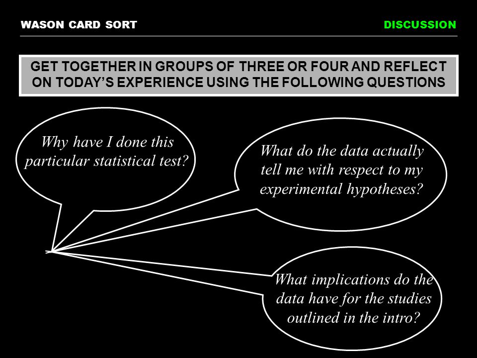 WASON CARD SORTDISCUSSION GET TOGETHER IN GROUPS OF THREE OR FOUR AND REFLECT ON TODAY'S EXPERIENCE USING THE FOLLOWING QUESTIONS Why have I done this particular statistical test.