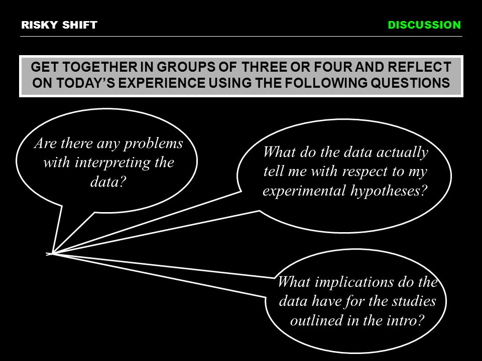DISCUSSION GET TOGETHER IN GROUPS OF THREE OR FOUR AND REFLECT ON TODAY'S EXPERIENCE USING THE FOLLOWING QUESTIONS Are there any problems with interpreting the data.