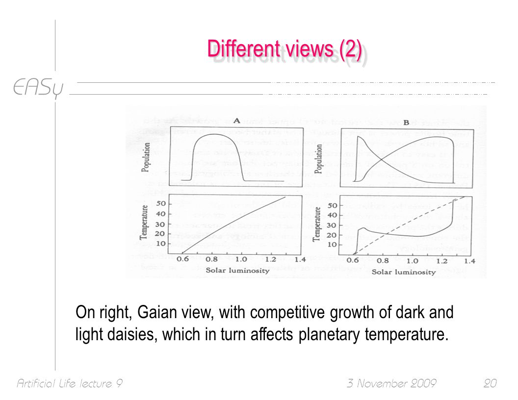EASy 3 November 2009Artificial Life lecture 920 Different views (2) On right, Gaian view, with competitive growth of dark and light daisies, which in turn affects planetary temperature.