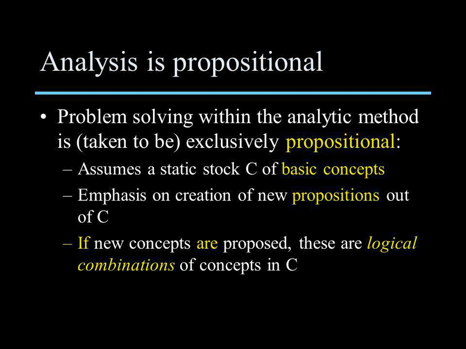 Analysis is propositional Problem solving within the analytic method is (taken to be) exclusively propositional: –Assumes a static stock C of basic concepts –Emphasis on creation of new propositions out of C –If new concepts are proposed, these are logical combinations of concepts in C