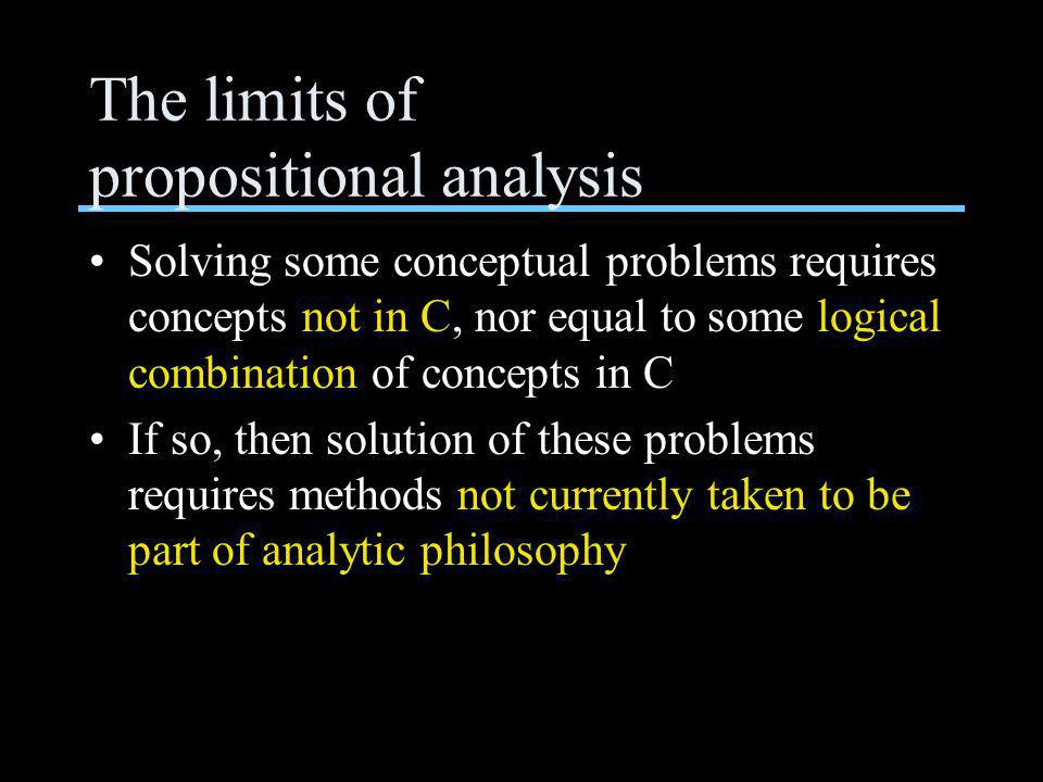 The limits of propositional analysis Solving some conceptual problems requires concepts not in C, nor equal to some logical combination of concepts in C If so, then solution of these problems requires methods not currently taken to be part of analytic philosophy