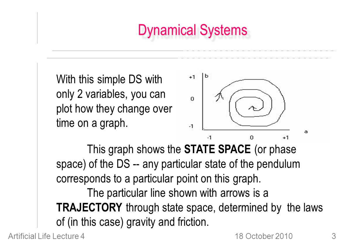 18 October 2010Artificial Life Lecture 43 Dynamical Systems With this simple DS with only 2 variables, you can plot how they change over time on a graph.