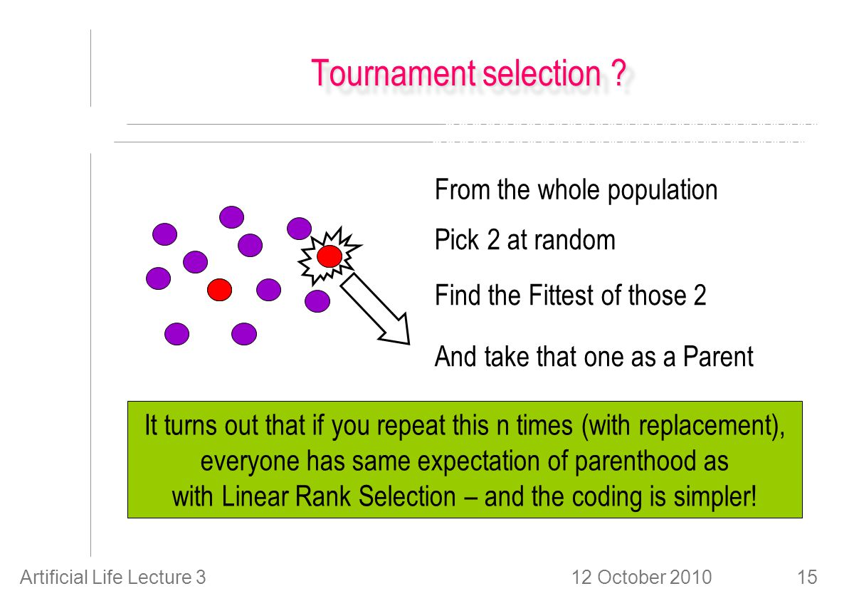 12 October 2010Artificial Life Lecture 315 Tournament selection .