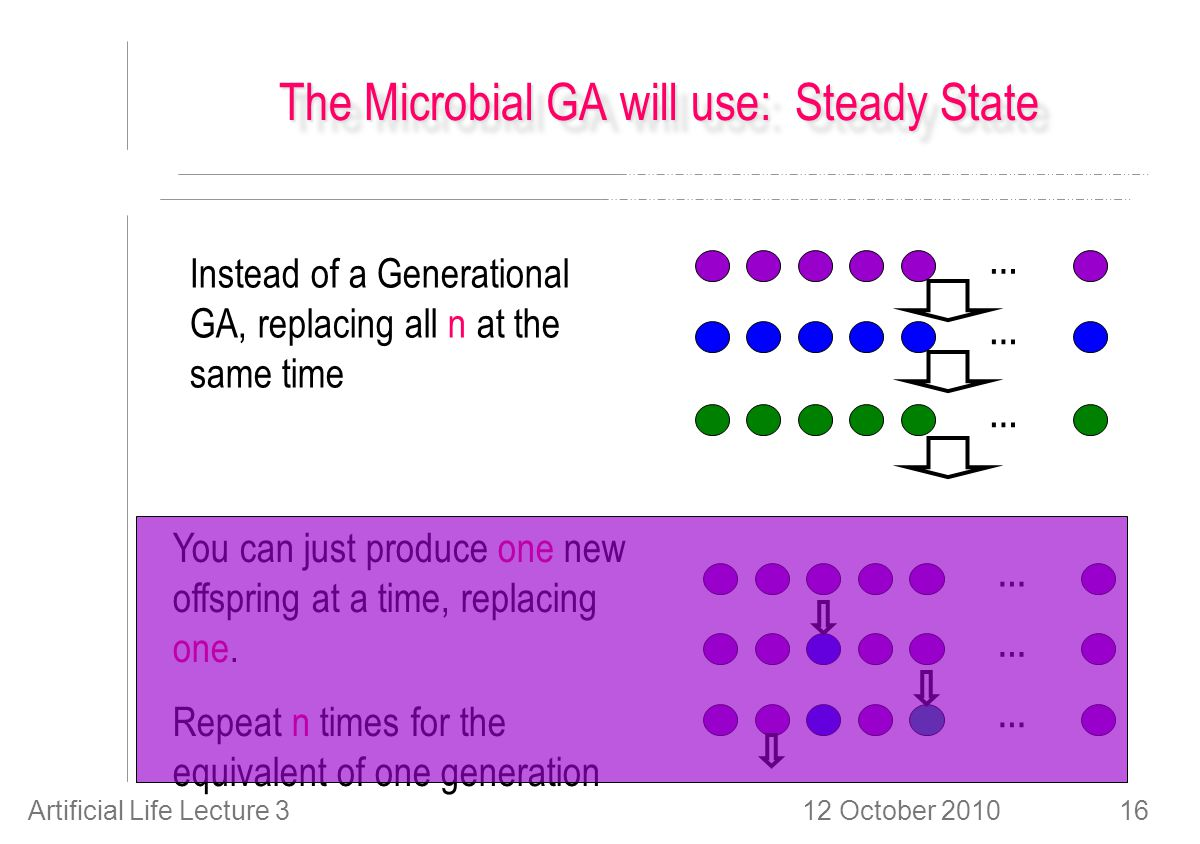 12 October 2010Artificial Life Lecture 316 The Microbial GA will use: Steady State … … … … … … Instead of a Generational GA, replacing all n at the same time You can just produce one new offspring at a time, replacing one.