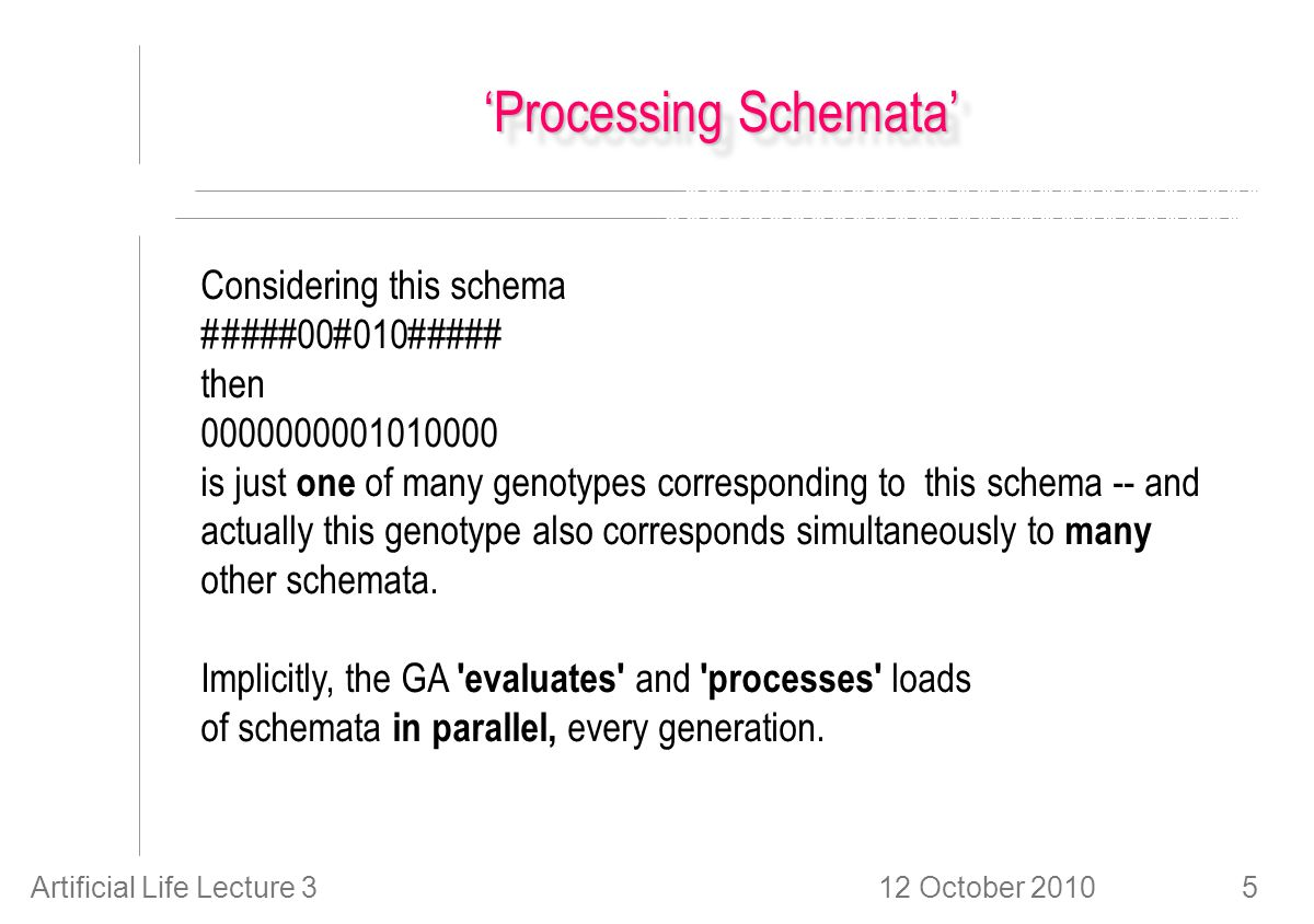 12 October 2010Artificial Life Lecture 35 'Processing Schemata' Considering this schema #####00#010##### then 0000000001010000 is just one of many genotypes corresponding to this schema -- and actually this genotype also corresponds simultaneously to many other schemata.