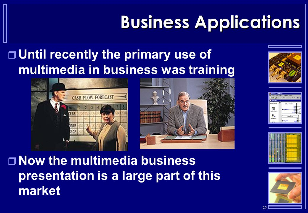 25 Business Applications  Until recently the primary use of multimedia in business was training  Now the multimedia business presentation is a large part of this market
