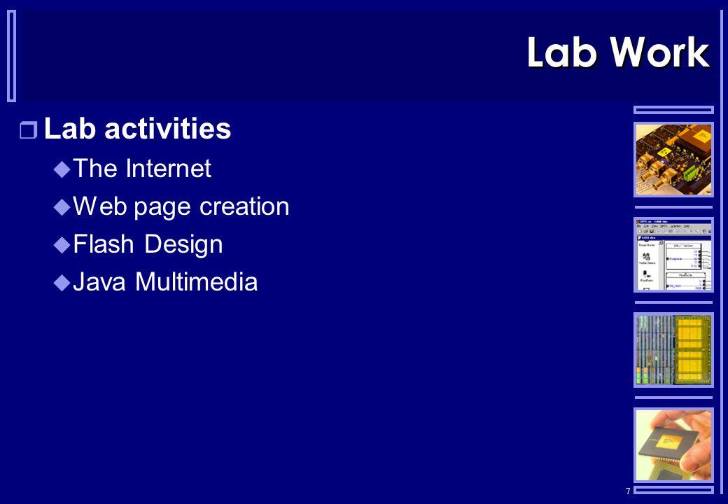 7 Lab Work  Lab activities  The Internet  Web page creation  Flash Design  Java Multimedia