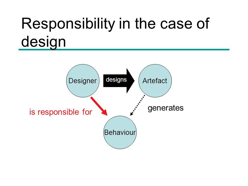 Responsibility in the case of design DesignerArtefact Behaviour is responsible for designs generates