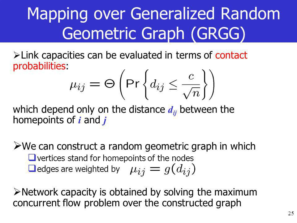 25 Mapping over Generalized Random Geometric Graph (GRGG)  Link capacities can be evaluated in terms of contact probabilities: which depend only on the distance d ij between the homepoints of i and j  We can construct a random geometric graph in which  vertices stand for homepoints of the nodes  edges are weighted by  Network capacity is obtained by solving the maximum concurrent flow problem over the constructed graph