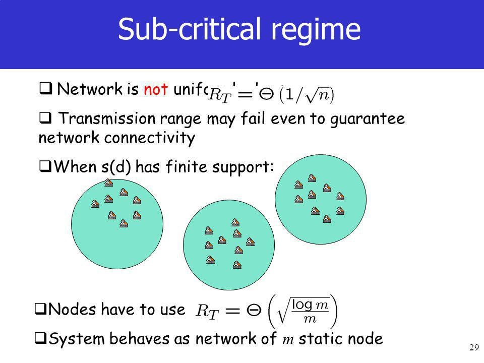 29  Network is not uniformly dense  Transmission range may fail even to guarantee network connectivity  When s(d) has finite support: Sub-critical regime  Nodes have to use  System behaves as network of m static node