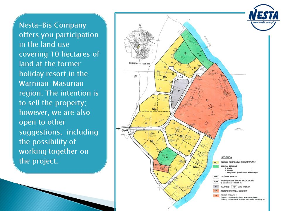 Nesta-Bis Company offers you participation in the land use covering 10 hectares of land at the former holiday resort in the Warmian-Masurian region.