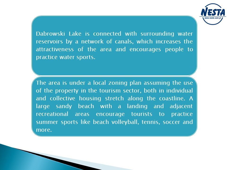 Dabrowski Lake is connected with surrounding water reservoirs by a network of canals, which increases the attractiveness of the area and encourages people to practice water sports.