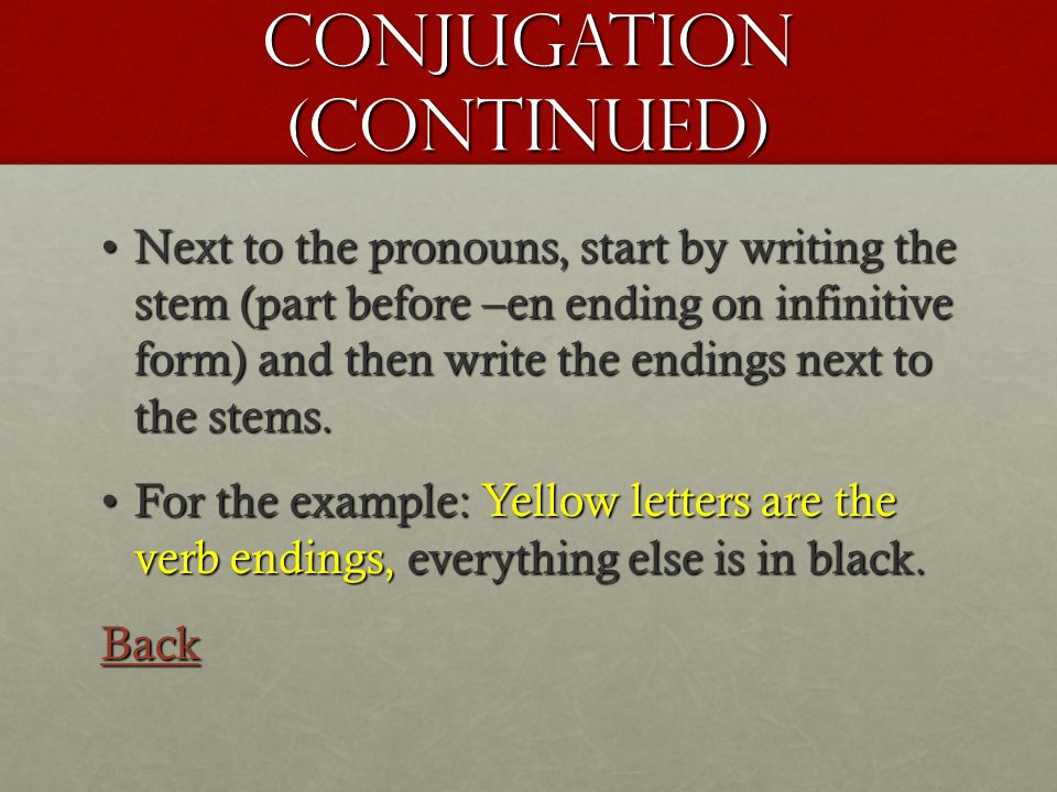 Conjugation (Continued) Next to the pronouns, start by writing the stem (part before –en ending on infinitive form) and then write the endings next to the stems.Next to the pronouns, start by writing the stem (part before –en ending on infinitive form) and then write the endings next to the stems.