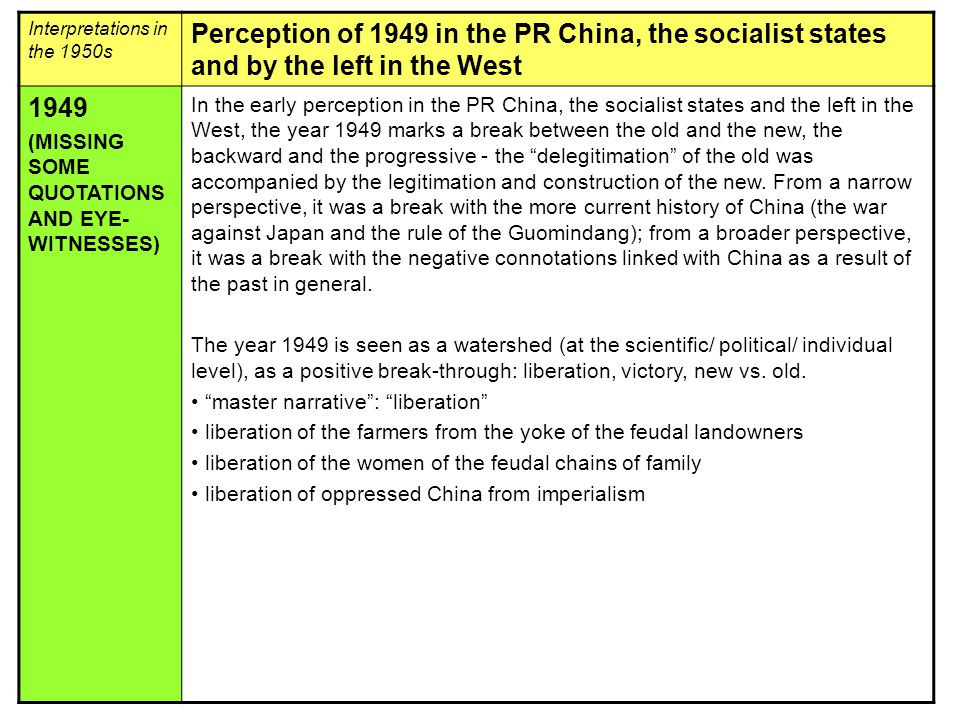 Interpretations in the 1950s Perception of 1949 in the PR China, the socialist states and by the left in the West 1949 (MISSING SOME QUOTATIONS AND EYE- WITNESSES) In the early perception in the PR China, the socialist states and the left in the West, the year 1949 marks a break between the old and the new, the backward and the progressive - the delegitimation of the old was accompanied by the legitimation and construction of the new.