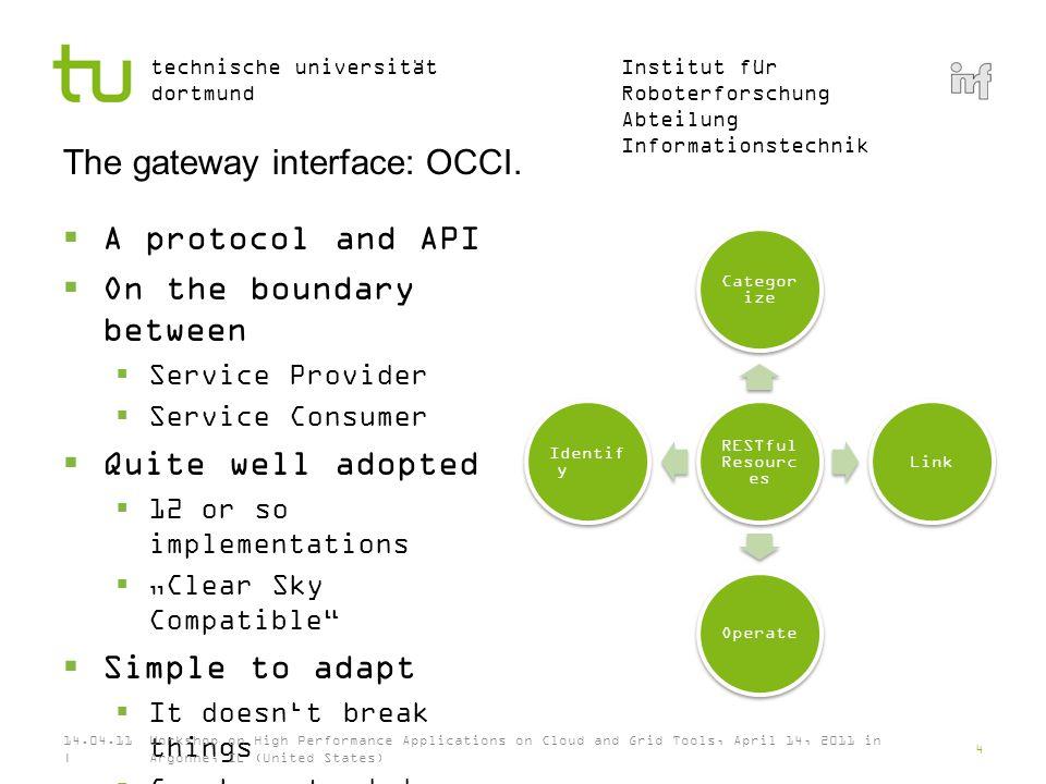 Institut für Roboterforschung Abteilung Informationstechnik technische universität dortmund How OCCI structures resources.