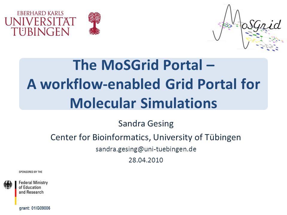 grant: 01IG09006 The MoSGrid Portal – A workflow-enabled Grid Portal for Molecular Simulations Sandra Gesing Center for Bioinformatics, University of Tübingen sandra.gesing@uni-tuebingen.de 28.04.2010