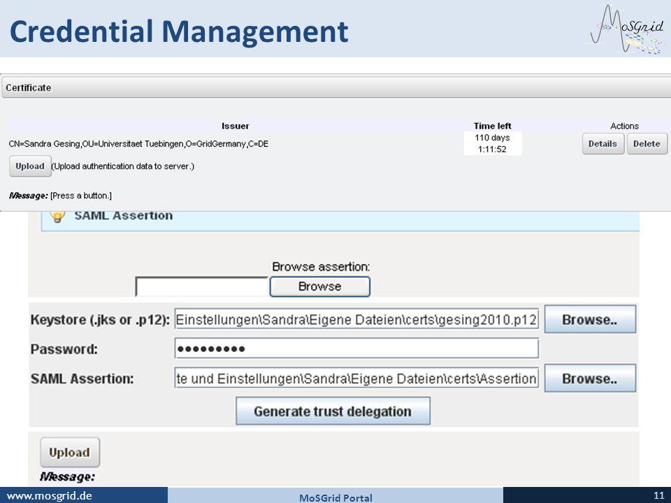 www.mosgrid.de Credential Management MoSGrid Portal 11