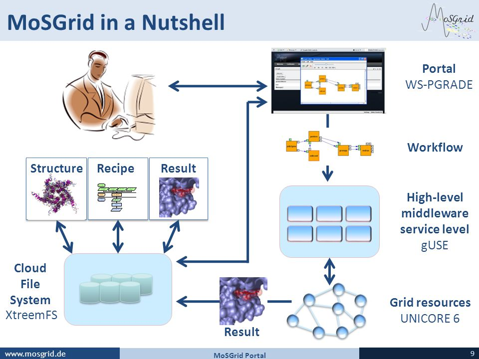 www.mosgrid.de MoSGrid in a Nutshell XtreemFS Cloud File System Portal WS-PGRADE Grid resources UNICORE 6 Result RecipeStructureResult High-level middleware service level gUSE Workflow MoSGrid Portal 9